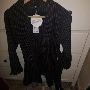Black pinstripe blazer dress